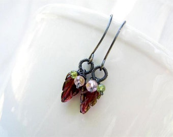 Carved Leaf  Garnet Earrings ,  Pink Tourmaline and Peridot ,  January Birthday , Garnet Jewelry