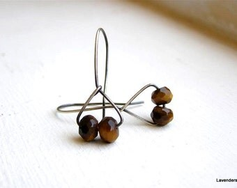 Tiger Eye Earrings , Sterling Silver , Oxidized , Geometric Jewelry , Minimalist