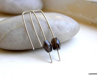 Smoky Quartz Earrings , Sterling Silver , Hook , Minimalist  , Modern