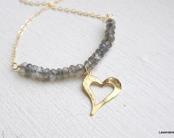 Labradorite Necklace , Gold Heart Necklace  , Modern Everyday Jewelry , Gemstone  Necklace
