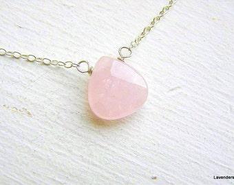 Valentine , Rose Quartz Necklace , Sterling Silver , Modern , Everyday Jewelry , Valentine's Day