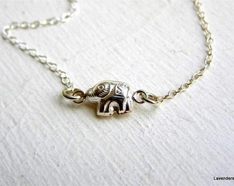 Elephant Necklace , Sterling Silver , Tiny Elephant Charm , Luck , Modern , Everyday Jewelry