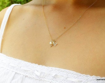 Dragonfly  Necklace , Gold Dragonfly Charm , Pearl , Gold Fill , Modern , Everyday Jewelry