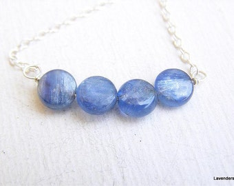 Kyanite necklace , Kyanite Dot   , Sterling Silver , Modern , Minimalist  , Everyday Jewelry