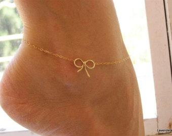 Anklet , Bow Anklet , Bow Gold Anklet , Gold Anklet , Charm Anklet , Bow Ankle Bracelet