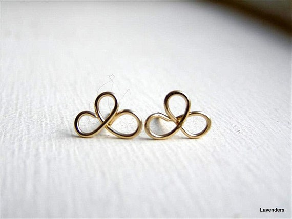 Clover Post earrings , 3 Leaf Clover , Gold Fill , Gold  Clover  Earrings , Gold Stud Earrings , modern minimalist st patricks day