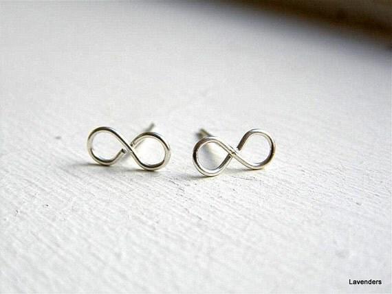 Infinity  Earrings Studs , Sterling Silver, Modern Minimalist , Handmade Post Earrings , Silver Infinity Studs , Infinity Jewelry