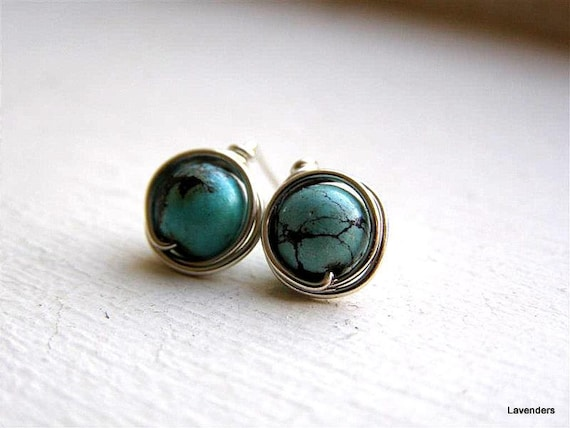 Turquoise Stud  Earrings , Sterling Silver , Large  , December Birthday , Wire Wrapped Turquoise Posts, Modern Minimalist