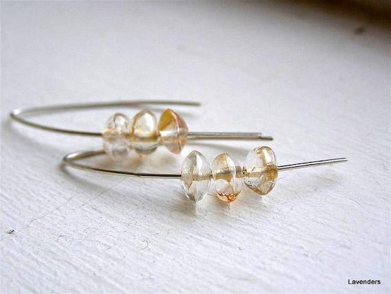 Citrine  Earrings , Sterling Silver , Hook Earrings , Modern Minimalist , November  Birthday