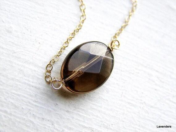 Smoky Quartz Necklace , Single Stone Necklace , Modern , minimalist Jewelry.