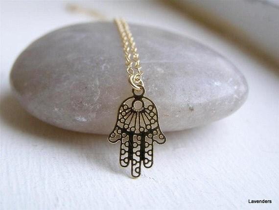 Hamsa Necklace , Gold Hamsa , Filigree Hand Charm , 14kt Gold Fill , Hamsa Jewelry , Eveil Eye