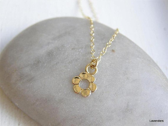 Flower Necklace , Gold Flower Charm , Gold Fill , Simple Everyday Jewelry