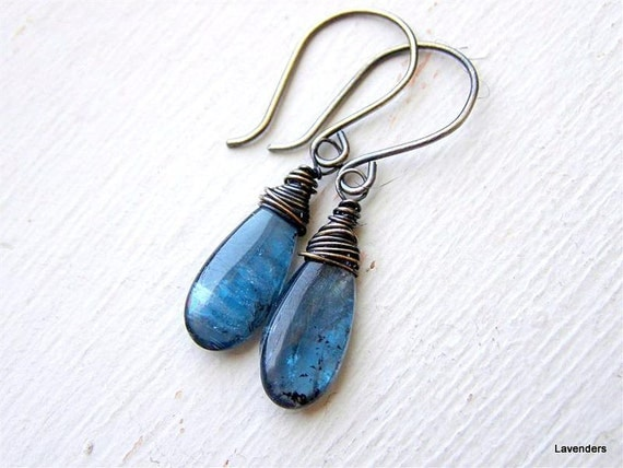 Kyanite Earrings  , Teal , Denim Blue , Oxidized Sterling / Fine Silver.