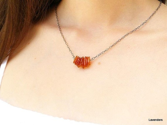 Amber Necklace , Oxidized , Sterling Silver , Everyday Jewelry