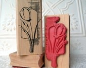 Tulip Collage rubber stamp from oldislandstamps