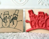 Three Snowmen rubber stamp from oldislandstamps