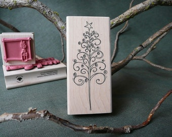 Curly Tree Christmas rubber stamp from oldislandstamps