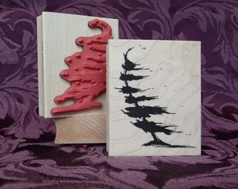 Against the Wind tree rubber stamp from oldislandstamps