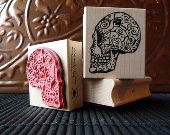 Sugar skull rubber stamp from oldislandstamps
