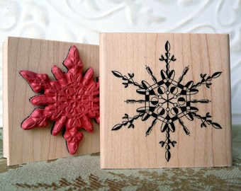 Hearts in Ice Snowflake rubber stamp from oldislandstamps