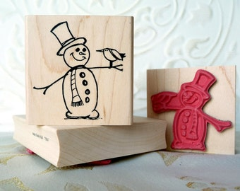 Snowman with Bird friend rubber stamp from oldislandstamps