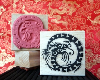 Asian Dragon rubber stamp from oldislandstamps