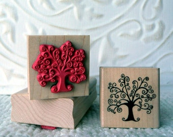 Little Swirly tree rubber stamp from oldislandstamps