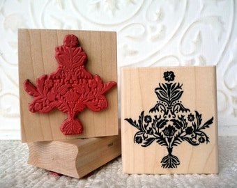 Damask Christmas Tree rubber stamp from oldislandstamps