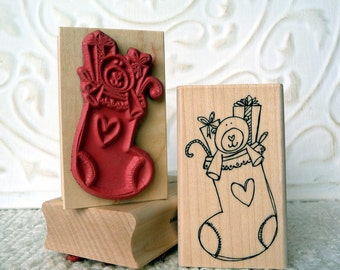 Stuffed Stocking rubber stamp from oldislandstamps