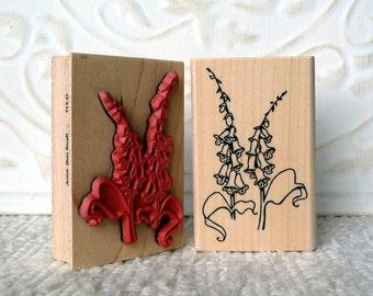 Foxglove flower rubber stamp from oldislandstamps