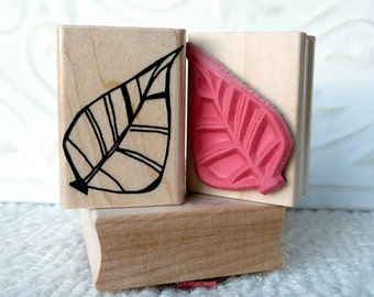 Retro leaf rubber stamp from oldislandstamps