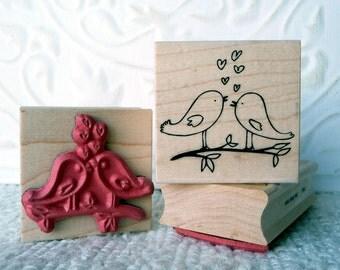 Two little Lovebirds rubber stamp from oldislandstamps