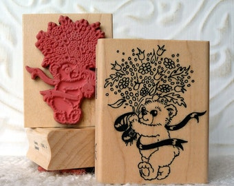 Teddy Bear and Flower Bouquet rubber stamp from oldislandstamps