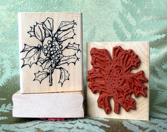 Holly Branch rubber stamp from oldislandstamps