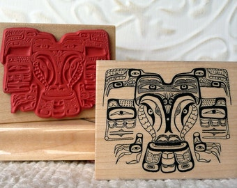 Raven native art rubber stamp from oldislandstamps