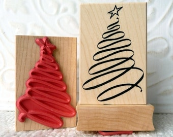 Ribbon Christmas Tree rubber stamp from oldislandstamps
