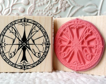 Compass rubber stamp from oldislandstamps