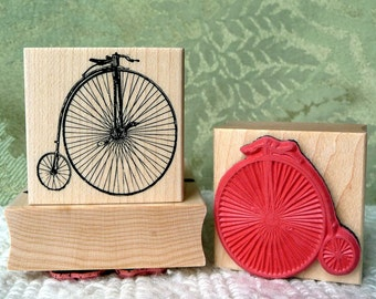 Penny Farthing Bicycle rubber stamp from oldislandstamps