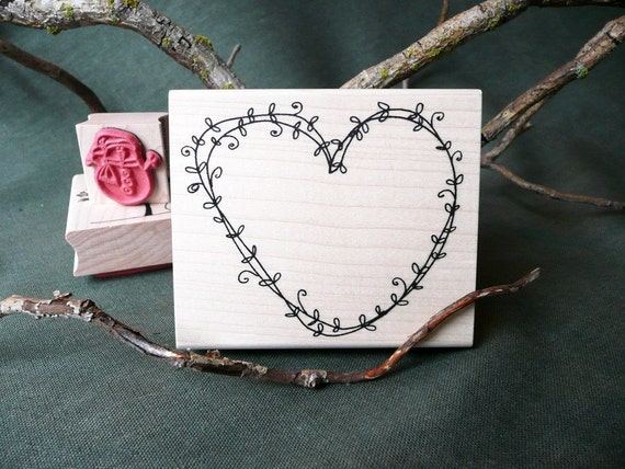 Vine Heart rubber stamp from oldislandstamps