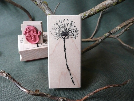 Dandelion Rubber Stamp From Oldislandstamps