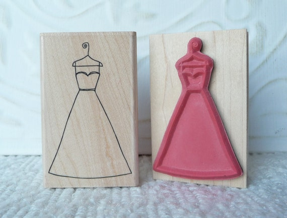 wedding dress rubber stamp from oldislandstamps