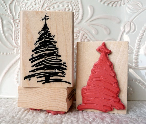 Christmas Tree with Star rubber stamp from oldislandstamps
