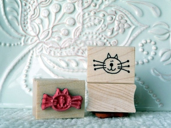 Kitty Face rubber stamp from oldislandstamps