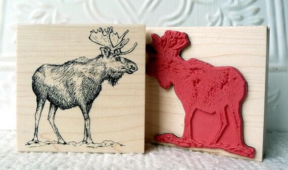 Moose rubber stamp from oldislandstamps