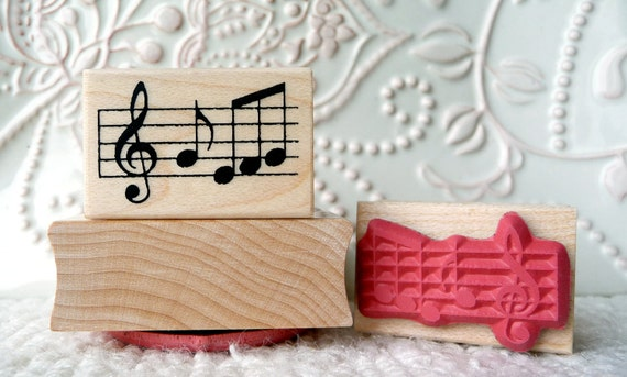 Music Notes rubber stamp from oldislandstamps