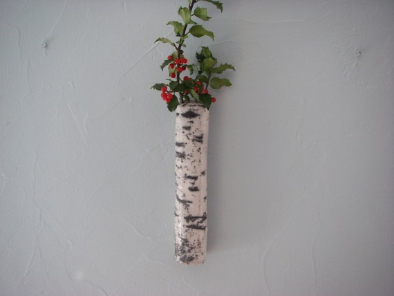 "Handmade 10"" (26cm) Slim Birch Tree style Wall Vase Finnish KOIVU series OOAK"