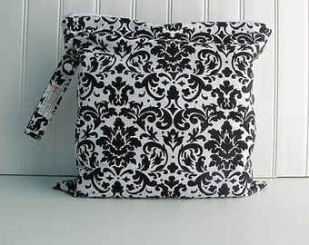Wet Bag - Black and White Damask - Waterproof - Eco Friendly - Reusable - Made to Order