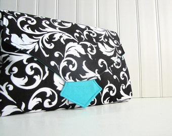 All-in-1 Changing Pad Diaper Clutch - Black and White Scrolls - Wipeable Waterproof lining - Made to Order