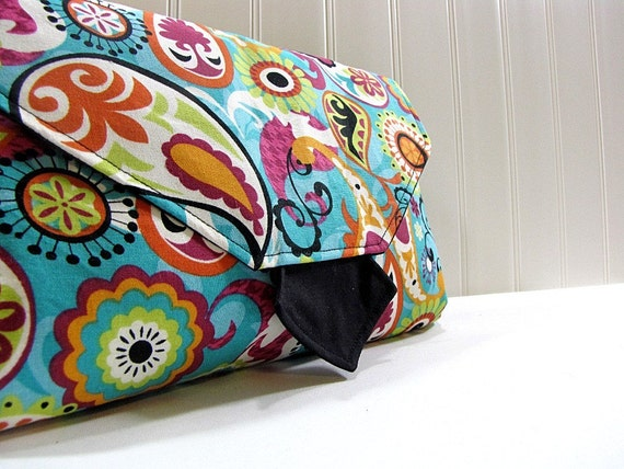 Diaper Clutch - All in One Changing Pad and Wipes Case - Turquoise Paisley - Made to Order