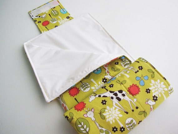 Diaper Changing Pad Roll Up - Giraffe Garden Citron - Made to Order